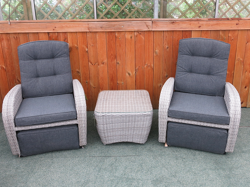 grey rocking rattan garden chairs set